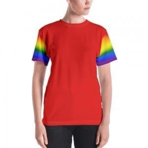Women's LGBTQ Red on Pride Rainbow Crewneck T-Shirt