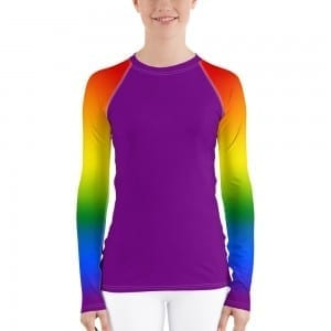 Women's LGBTQ Purple on Pride Rainbow Rash Guard