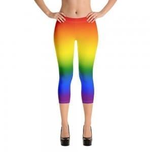 Women LGBTQ Pride Rainbow Capri Leggings