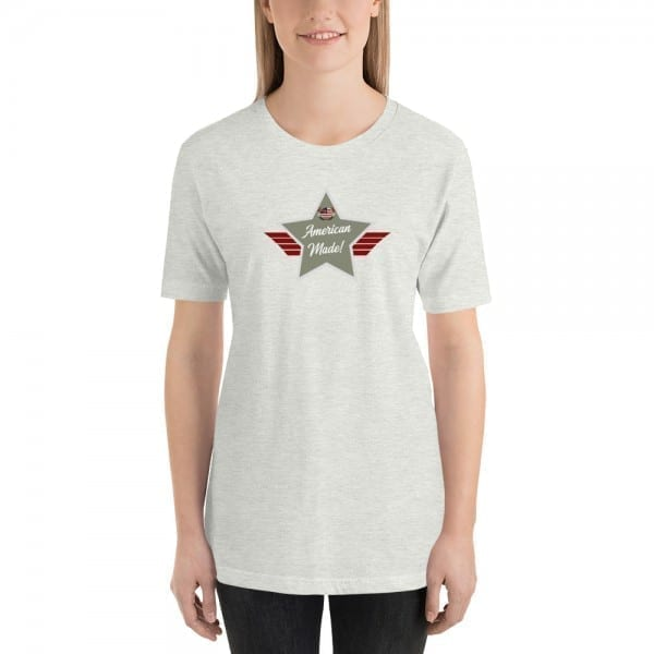 Short-Sleeve Unisex T-Shirt with Camo Green and Grey American Made Shield