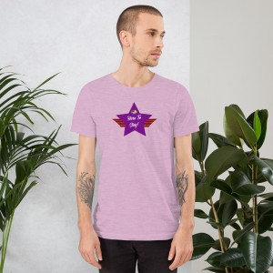 Short-Sleeve Unisex Premium T-Shirt with Purple LGBTQ Here To Stay! Shield