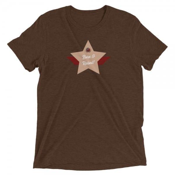 Born & Raised! Short-Sleeve Unisex Tri-Blend T-Shirt with D5A88B Skin-Tone Shield