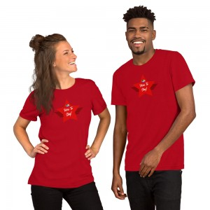Short-Sleeve Unisex Premium T-Shirt with Red LGBTQ Here To Stay! Shield