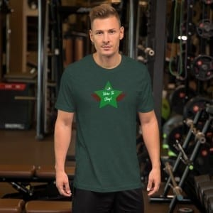 Short-Sleeve Unisex Premium T-Shirt with Green LGBTQ Here To Stay! Shield