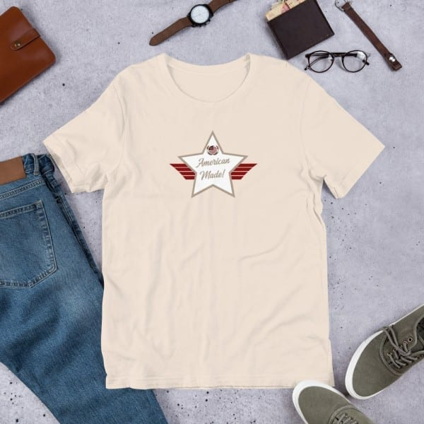 Short-Sleeve Unisex T-Shirt with Desert Brown Mid and White American Made Shield