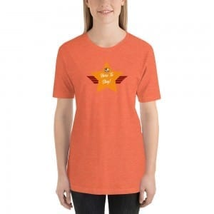 Short-Sleeve Unisex Premium T-Shirt with Orange LGBTQ Here To Stay! Shield