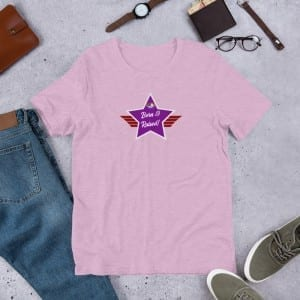 Short-Sleeve Unisex Premium T-Shirt with Purple and Grey LGBTQ Born & Raised! Shield