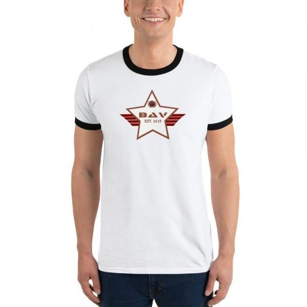 Lightweight Ringer T-shirt with 924C32 Skintone and White BAV Shield