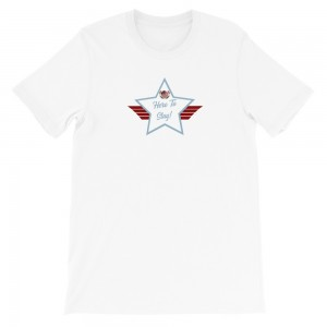Short-Sleeve Unisex T-Shirt with Powder Blue and White Here To Stay! Shield