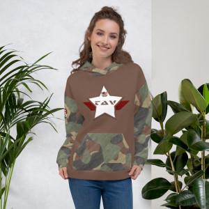 Green Camo Unisex Hoodie - Camo Brown and White Chest Camo Brown TAV Shield Flag