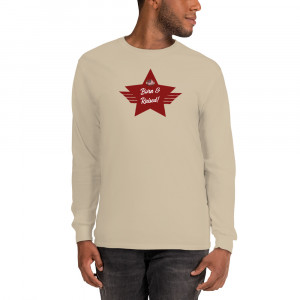 Men's Long Sleeve Ultra Cotton T-Shirt with Red Born & Raised! Shield