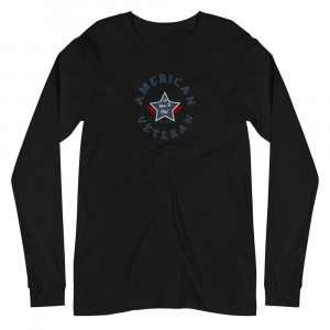 Circular Navy Blue and Grey Here To Stay! Shield Unisex Long Sleeve T-shirt
