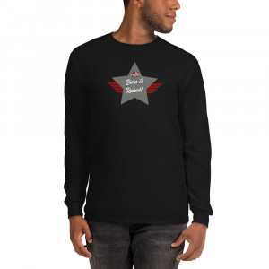 Men's Long Sleeve Ultra Cotton T-Shirt with Charcoal Born & Raised! Shield