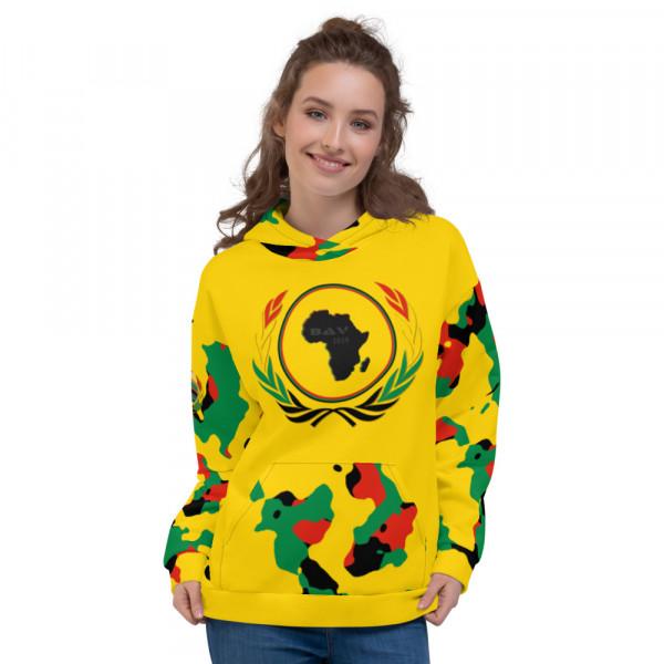 Pan-Africa Yellow Camo Unisex Hoodie - Yellow Chest - BAV 1619 Homeland Shield w Wreath Flag & Ribbon
