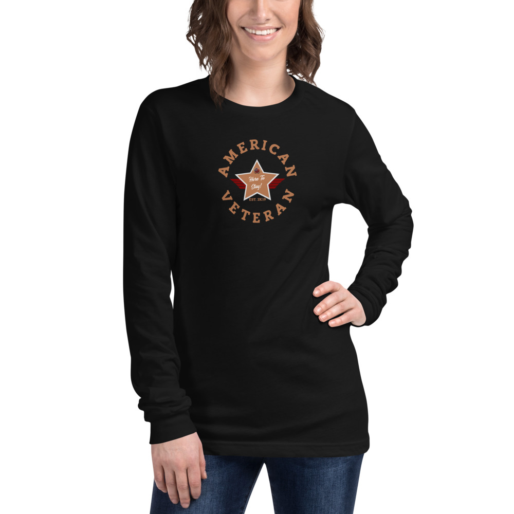 Circular B8774F Skintone and Grey Here To Stay! Shield Unisex Long Sleeve T-shirt