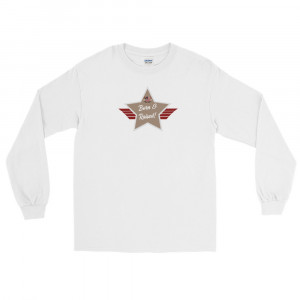 Men's Long Sleeve Ultra Cotton T-Shirt with Desert Brown and Grey Born & Raised! Shield