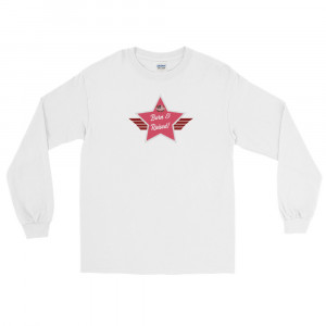 Men's Long Sleeve Ultra Cotton T-Shirt with Dark Pink and Grey Born & Raised! Shield