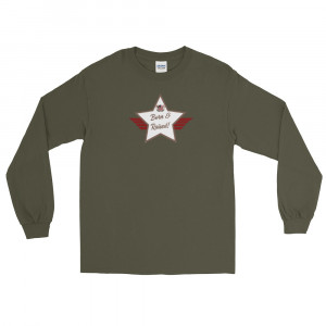 Men's Long Sleeve Ultra Cotton T-Shirt with Camo Brown and White Born & Raised! Shield