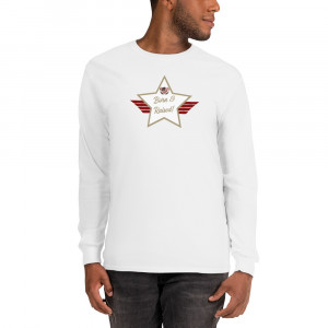Men's Long Sleeve Ultra Cotton T-Shirt with Sand Brown and White Born & Raised! Shield