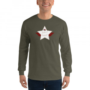 Men's Long Sleeve Ultra Cotton T-Shirt with Desert Brown Lite and White Born & Raised! Shield