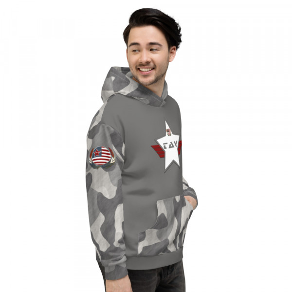 Black Camo Unisex Hoodie - Charcoal Chest Charcoal and White TAV Shield Flag