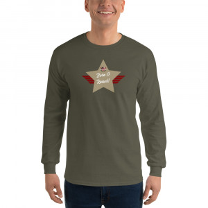 Men's Long Sleeve Ultra Cotton T-Shirt with Sand Brown Born & Raised! Shield