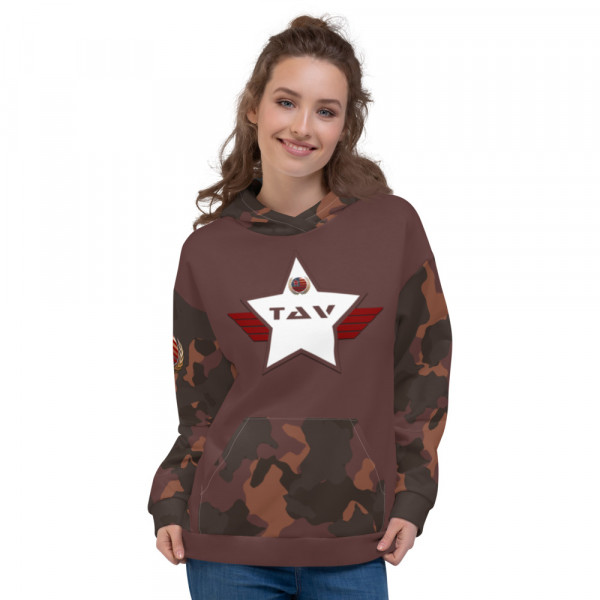Dark Skintone Camo Hoodie - 5C3836 Chest - 5C3836 & White TAV Shield w Flag & Unity Wreath
