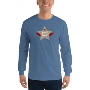 Men's Long Sleeve Ultra Cotton T-Shirt with Desert Mid Brown Born & Raised! Shield