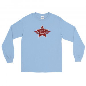 Men's Long Sleeve Ultra Cotton T-Shirt with Red and Grey Born & Raised! Shield