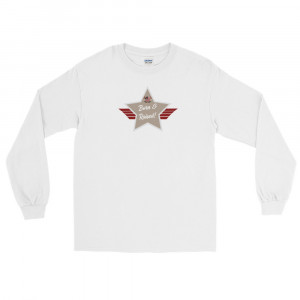 Men's Long Sleeve Ultra Cotton T-Shirt with Desert Mid Brown and Grey Born & Raised! Shield