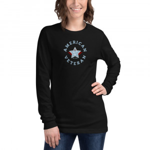 Circular Powder Blue and Grey Here To Stay! Shield Unisex Long Sleeve T-shirt