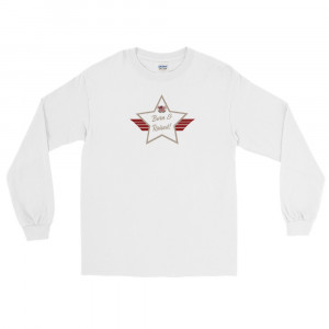 Men's Long Sleeve Ultra Cotton T-Shirt with Desert Mid Brown and White Born & Raised! Shield