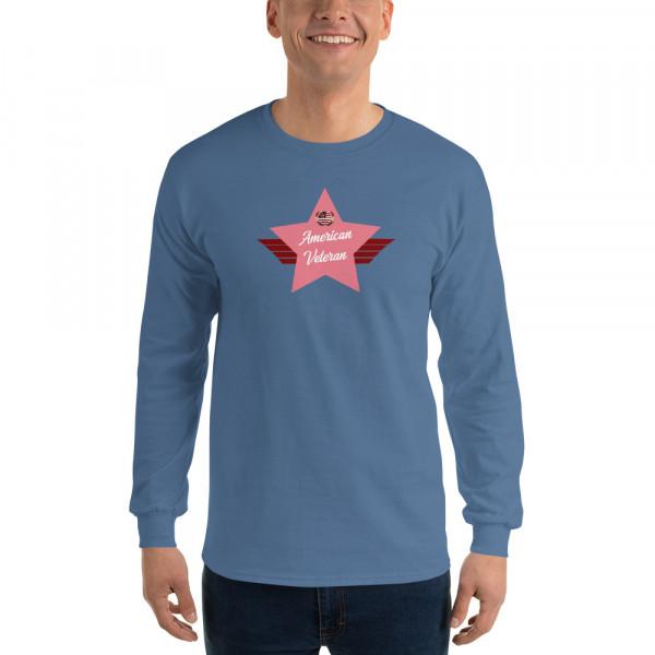 Men's Long Sleeve Ultra CottonT-Shirt with Pink American Veteran Shield