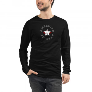 Circular Charcoal and White Here To Stay! Shield Unisex Long Sleeve T-shirt