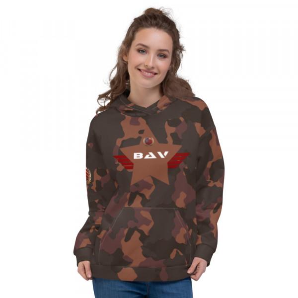 All-Over Dark Skintone Camo Unisex Hoodie - 854B37 BAV Shield w Flag & Unity Wreath