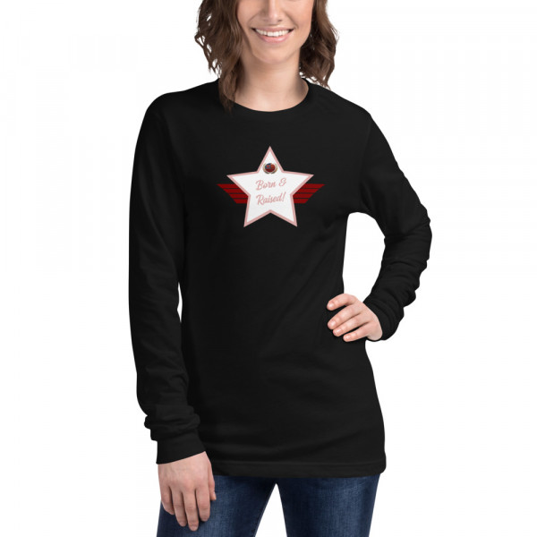 Unisex Long Sleeve Cotton T-shirt with E3B0AD Skintone and White Born & Raised! Shield