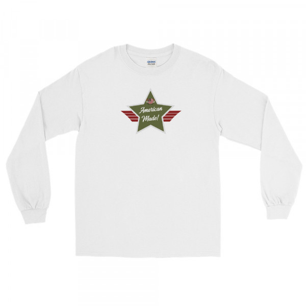 Men's Long Sleeve Ultra Cotton T-Shirt with Army Green and Grey American Made Shield