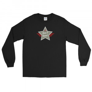 Men's Long Sleeve Ultra Cotton T-Shirt with Camo Green and Grey Born & Raised! Shield