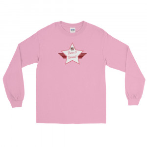 Men's Long Sleeve Ultra Cotton T-Shirt with Pink and White Born & Raised! Shield
