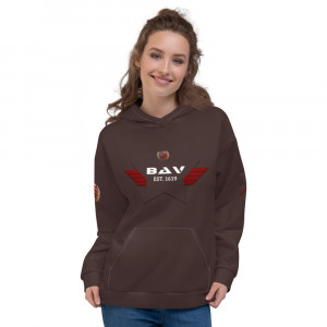 3F2B2A Skintone Unisex Hoodie - 3F2B2A BAV 1619 Shield w Flag & Unity Wreath & Red Ribbon