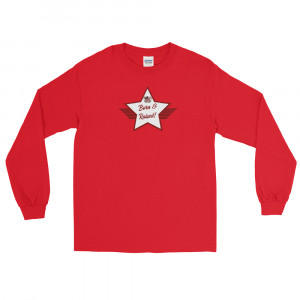 Men's Long Sleeve Ultra Cotton T-Shirt with Red and White Born & Raised! Shield