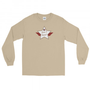 Men's Long Sleeve Ultra Cotton T-Shirt with Desert Brown and White Born & Raised! Shield