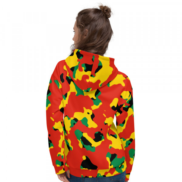 Pan-Africa Red Camo Unisex Hoodie - Yellow Chest