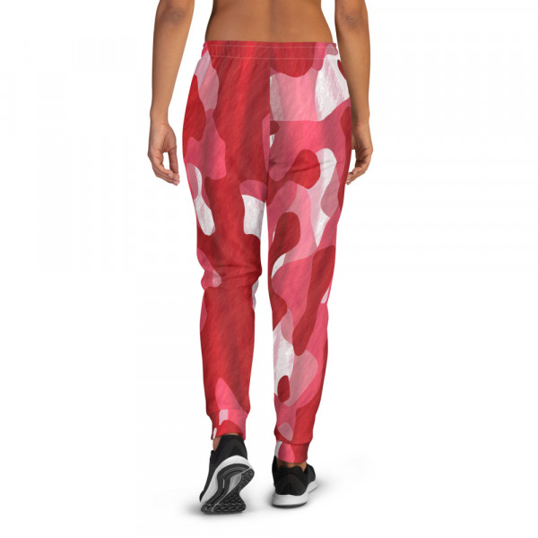 Womens Red Camo Joggers w Pink and White TAV Shield