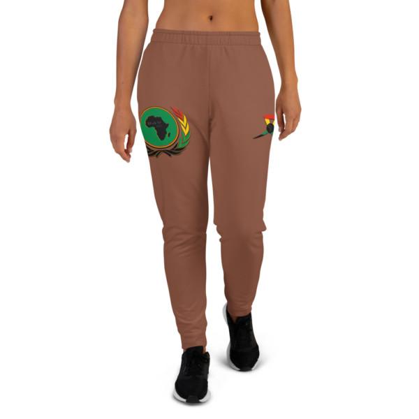 Women's 854B37 Skintone Joggers - BAV 1619 Green Pan-African Homeland Shield w Wreath & Ribbon