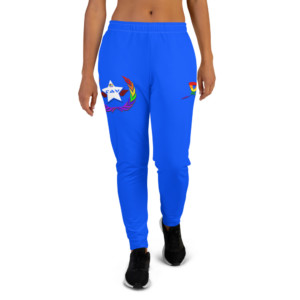 Women's LGBTQ Pride Blue Joggers - Pride Blue and White TAV Shield w Pride Unity Wreath & Ribbon