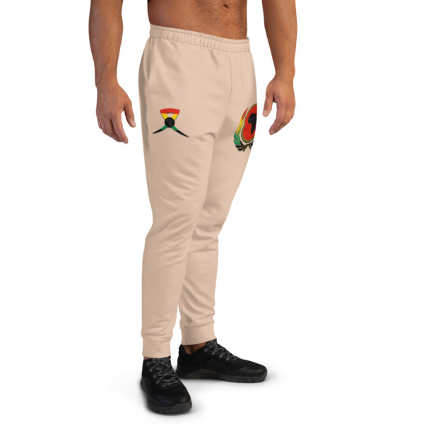 Men's E7C5AC Skintone Joggers - BAV 1619 Red Pan-African Homeland Shield w Wreath & Ribbon