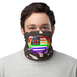 Dark Lite Skintone Camo Print Neck Gaiter w Pride Wreath & LAV Flag