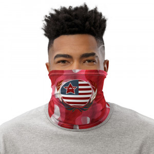 Red Camo Print Neck Gaiter w Wreath & TAV Flag