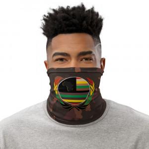 Dark Skintone Camo Print Neck Gaiter w Pan African Unity Wreath & AAV Flag